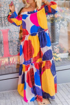 Multicolor Fashion Casual Print With Belt Off the Shoulder Long Sleeve Dresses
