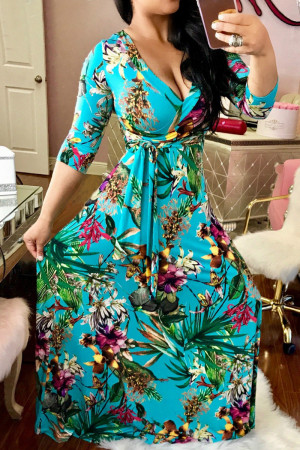 Blue Fashion Casual Print Bandage V Neck Long Sleeve Dresses