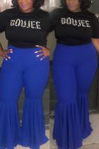 Blue Casual Fashion Slim Lotus Leaf Pants