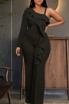 Black Elegant Solid Split Joint Flounce Oblique Collar Straight Jumpsuits
