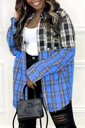 Blue Fashion Casual Plaid Print Split Joint Turndown Collar Tops