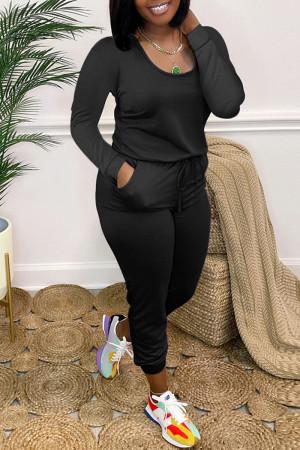 Black Fashion Casual Solid Basic O Neck Regular Jumpsuits