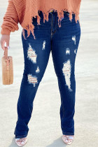 Deep Blue Fashion Casual Solid Ripped High Waist Regular Jeans