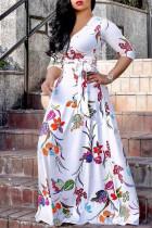 White Fashion Casual Print Bandage V Neck Long Sleeve Dresses