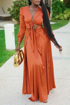 Orange Fashion Solid Bandage Hollowed Out V Neck Long Sleeve Dresses