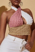 Multicolor Fashion Sexy Patchwork Hollowed Out Backless Halter Tops