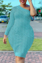 Sky Blue Fashion Sexy Solid Split Joint One Shoulder One Step Skirt Dresses