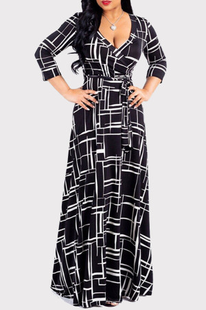 Black Fashion Casual Print Bandage V Neck Long Sleeve Dresses