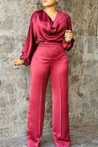 Red Casual Solid Split Joint O Neck Plus Size Jumpsuits