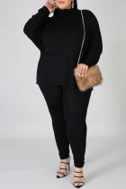 Black Fashion Casual Solid Basic Turtleneck Plus Size Two Pieces