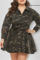 Camouflage Fashion Camouflage Print Sequins Split Joint Turndown Collar Long Sleeve Plus Size Dresses