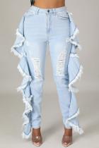 Light Blue Street Solid Tassel Ripped Make Old Split Joint Flounce High Waist Skinny Denim Jeans