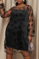 Black Fashion Sexy Print See-through O Neck Dress Plus Size Two Pieces