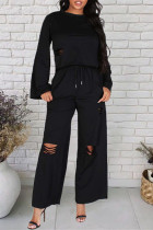 Black Fashion Casual Solid Ripped O Neck Long Sleeve Two Pieces