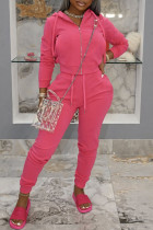 Pink Fashion Casual Solid Zipper Hooded Collar Long Sleeve Two Pieces