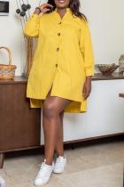 Yellow Casual Solid Buckle Mandarin Collar Shirt Dress Dresses