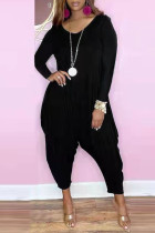 Black Fashion Casual Solid Basic V Neck Harlan Jumpsuits