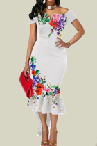 White Sexy Print Split Joint Off the Shoulder Trumpet Mermaid Dresses