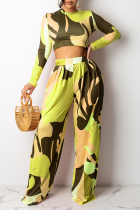 Yellow Casual Print Split Joint O Neck Long Sleeve Two Pieces