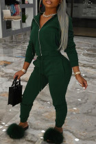 Ink Green Fashion Casual Solid Zipper Hooded Collar Long Sleeve Two Pieces