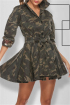 Camouflage Fashion Camouflage Print Sequins Split Joint Turndown Collar Long Sleeve Dresses