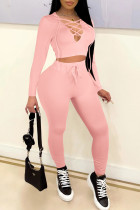 Pink Casual Solid Split Joint Frenulum Hooded Collar Long Sleeve Two Pieces