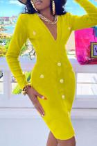 Yellow Fashion Casual Solid Basic V Neck Long Sleeve Dresses