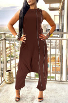 Dark Brown Street Solid Split Joint Pocket Zipper O Neck Loose Jumpsuits