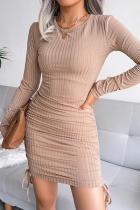 Khaki Elegant Solid Draw String Frenulum O Neck Pencil Skirt Dresses