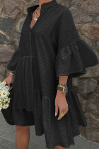 Black Sweet Solid Flounce Mandarin Collar Shirt Dress Dresses