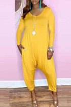 Yellow Fashion Casual Solid Basic V Neck Harlan Jumpsuits