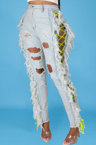 Light Color Sexy Solid Tassel Ripped Bandage Make Old Straight Denim Jeans