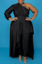 Black Fashion Casual Plus Size Solid Backless Oblique Collar Irregular Dress