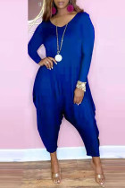 Blue Fashion Casual Solid Basic V Neck Harlan Jumpsuits