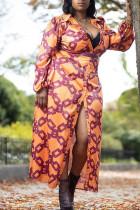 Brown Casual Print Split Joint Buckle Turndown Collar Straight Plus Size Dresses