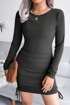 Black Elegant Solid Draw String Frenulum O Neck Pencil Skirt Dresses