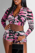 Pink Fashion Casual Print Basic Zipper Collar Long Sleeve Two Pieces