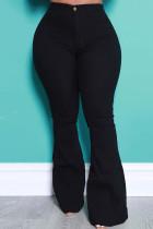 Black Street Solid Split Joint High Waist Boot Cut Denim Jeans