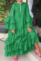 Green Fashion Casual Print Split Joint O Neck Long Sleeve Dresses pre-sale