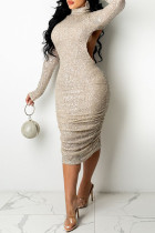 Apricot Fashion Sexy Patchwork Sequins Turtleneck Long Sleeve Dresses