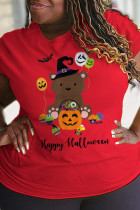 Red Party Cute Character Split Joint O Neck Plus Size Tops