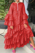 Red Fashion Casual Print Split Joint O Neck Long Sleeve Dresses pre-sale
