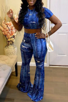 Blue Casual Print Ripped Split Joint O Neck Short Sleeve Two Pieces