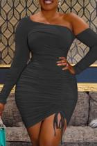 Black Sexy Solid Backless Oblique Collar Long Sleeve Irregular Dress