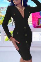 Black Fashion Casual Solid Basic V Neck Long Sleeve Dresses