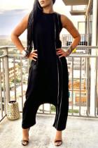 Black Street Solid Split Joint Pocket Zipper O Neck Loose Jumpsuits