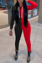 Black Red Casual Solid Split Joint Fold Zipper Hooded Collar Long Sleeve Two Pieces