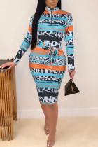 Yellow Blue Casual Print Split Joint With Belt Zipper Collar One Step Skirt Dresses