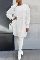 White Sexy Solid Split Joint Feathers O Neck Straight Dresses