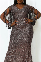 Black Gold Fashion Sexy Plus Size Solid Sequins V Neck Evening Dress